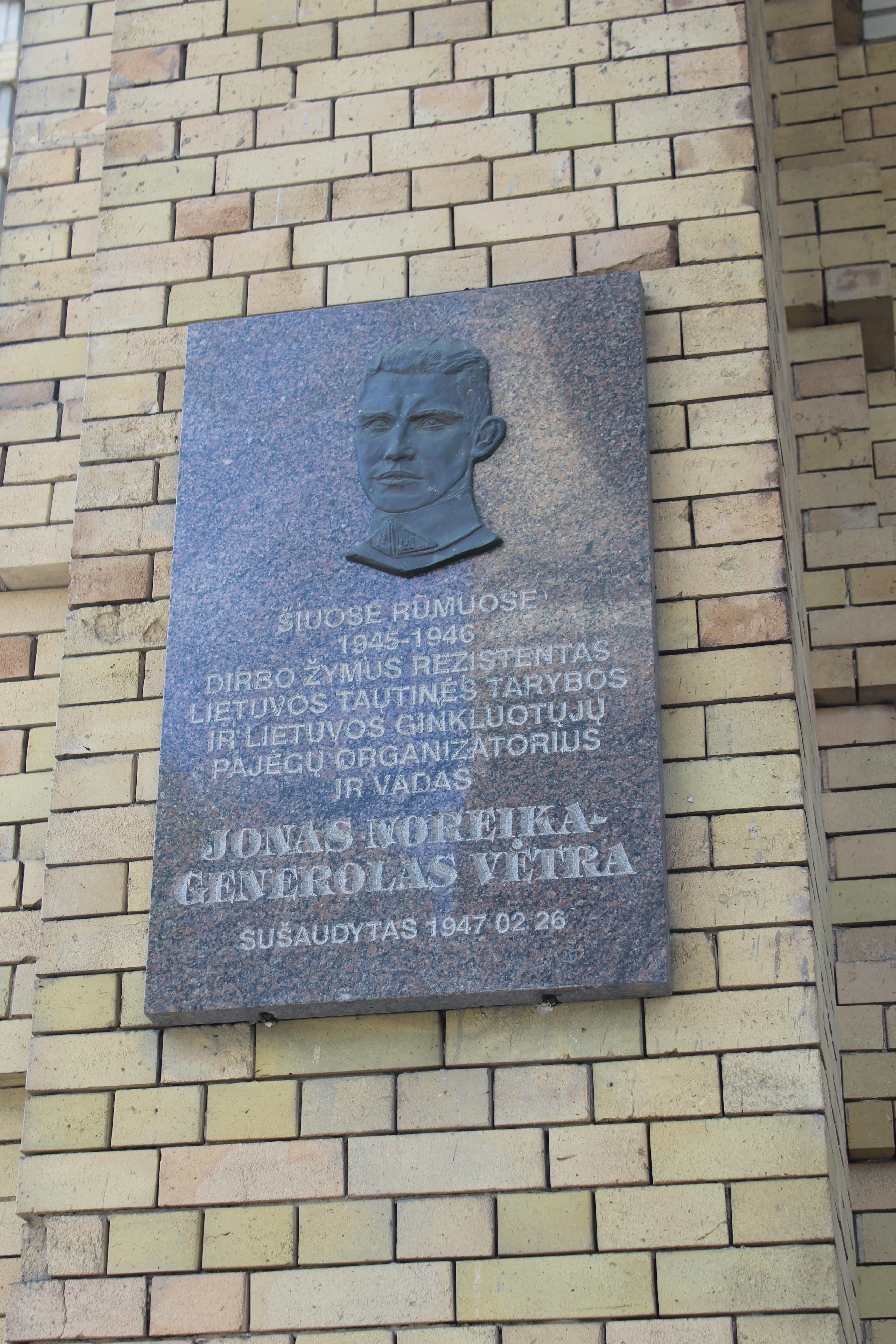 Plaque of Jonas Noreika at Academy of Sciences Building in Vilnius